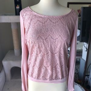Light pink opened back long sleeve Sequin blouse